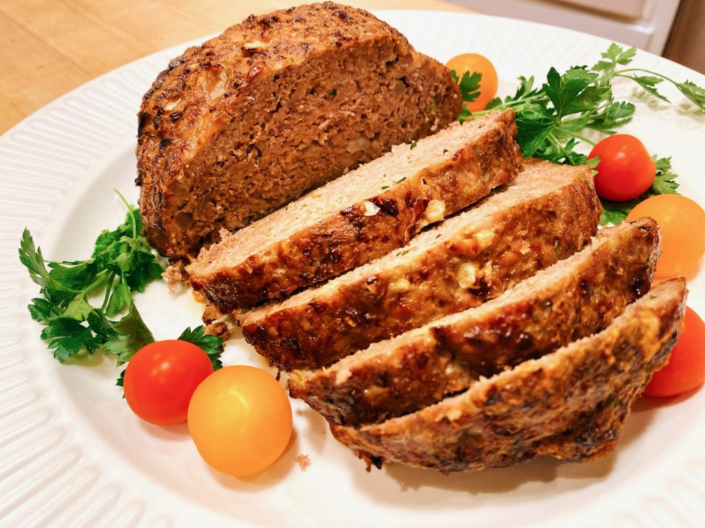 sliced meatloaf made with Laura's Lean Beef