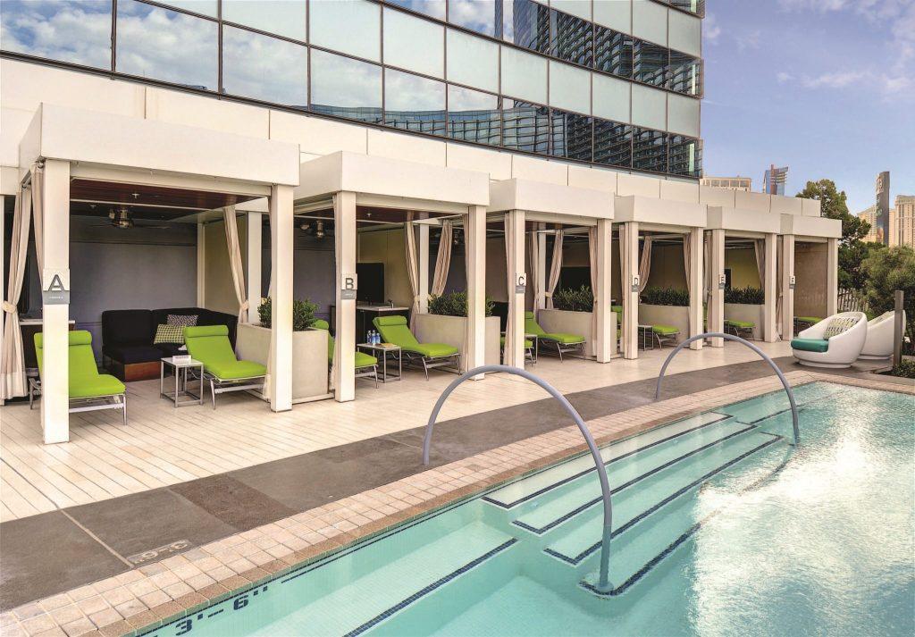 pool cabanas at Vdara Hotel Las Vegas
