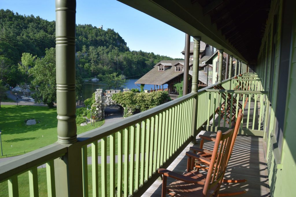 balcony view from the 6th floor rooms at Mohonk Mountain House, New York