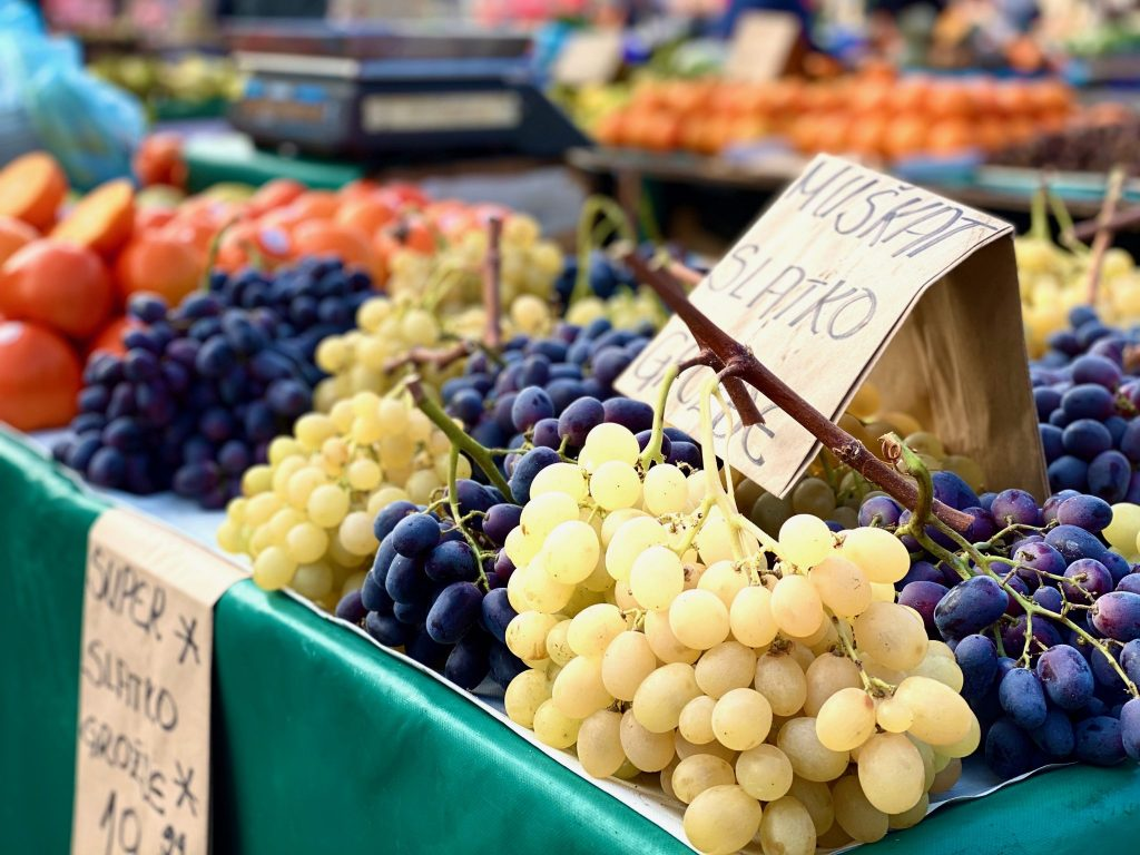 fruit in outdoor market stand in Dolac Market, Zagreb, Croatia