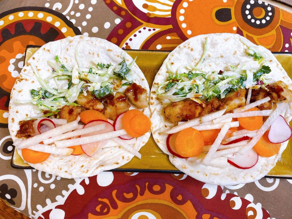 Asian Chicken Tacos with pickled vegetables and kale slaw recipe