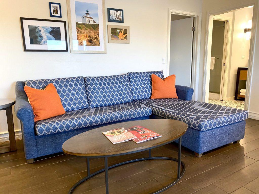 Paradise Point Resort in San Diego bayfront cottage living room
