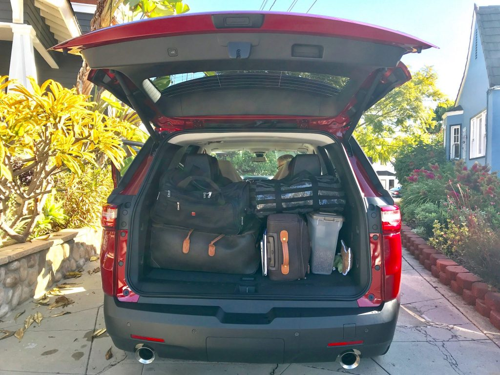 SUV hatchback full of luggage and ready for a road trip