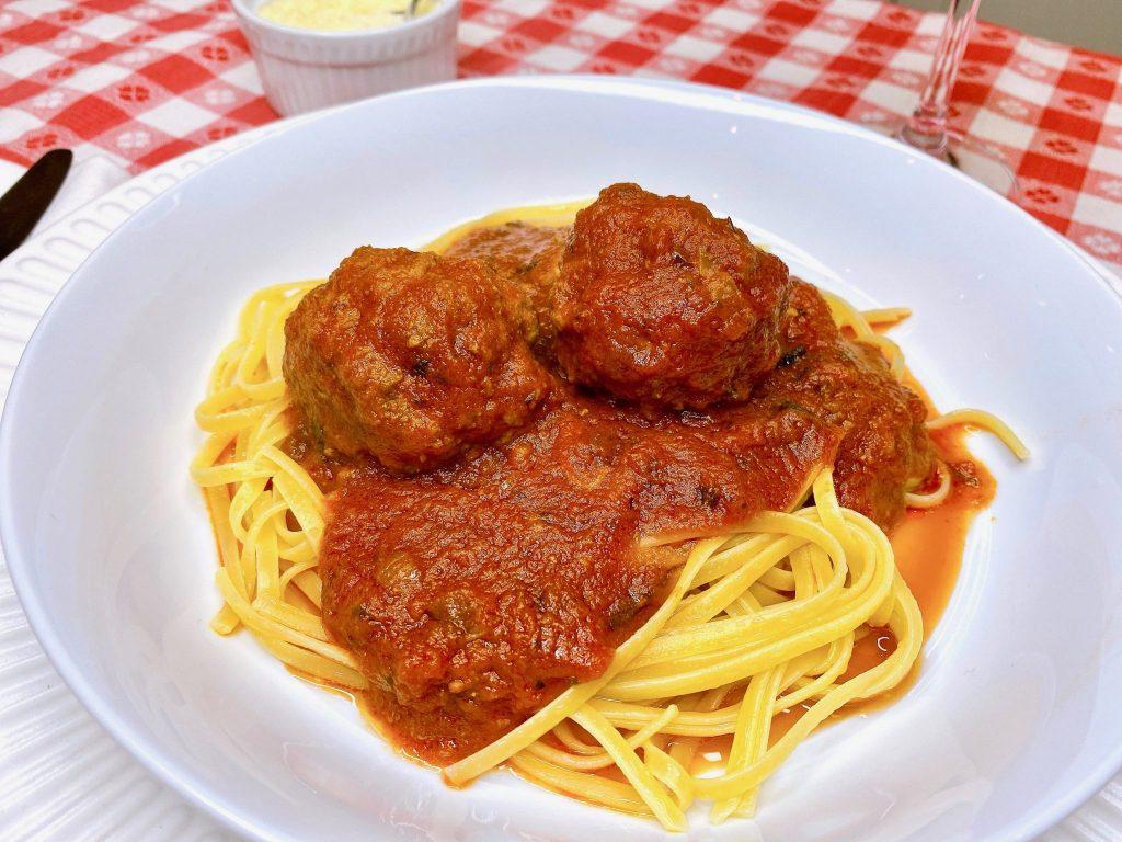 traditional Italian pasta and meatballs dinner