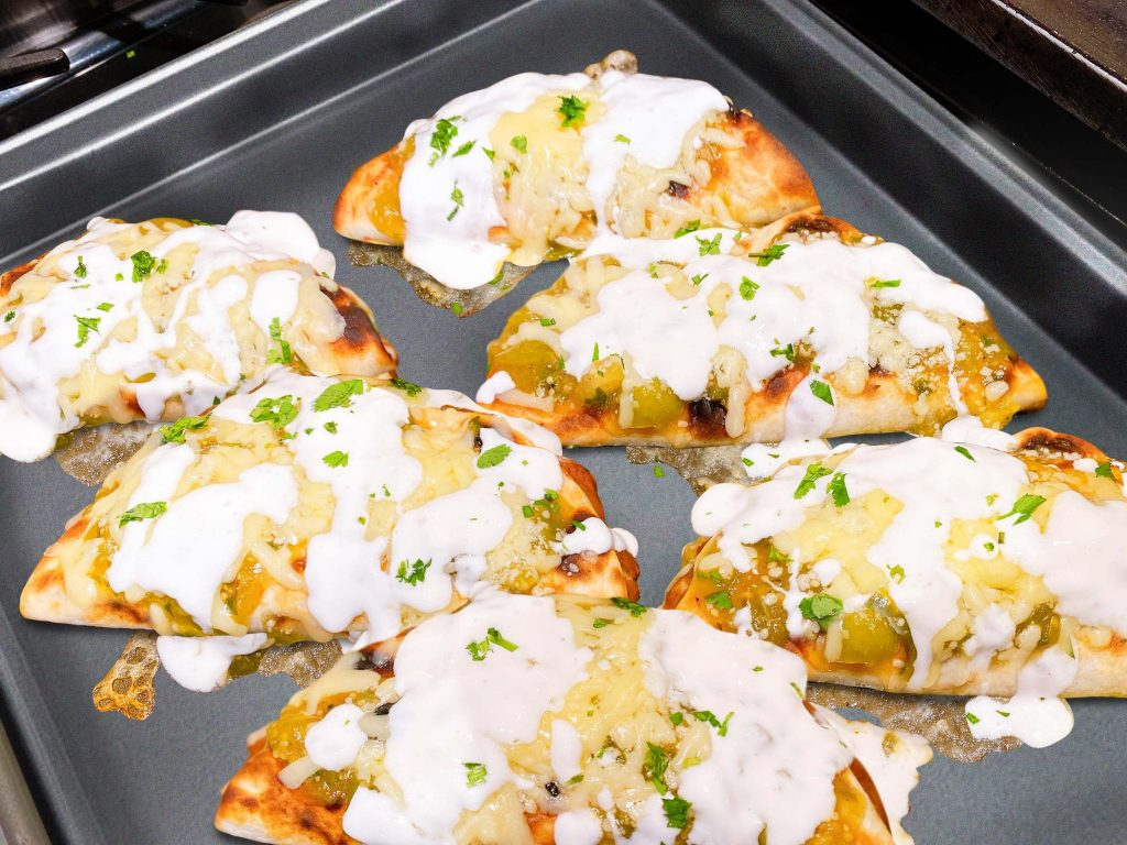 Martha & Marley Spoon recipe Cheesy Baked Quesadillas with Green Tomatillo Salsa
