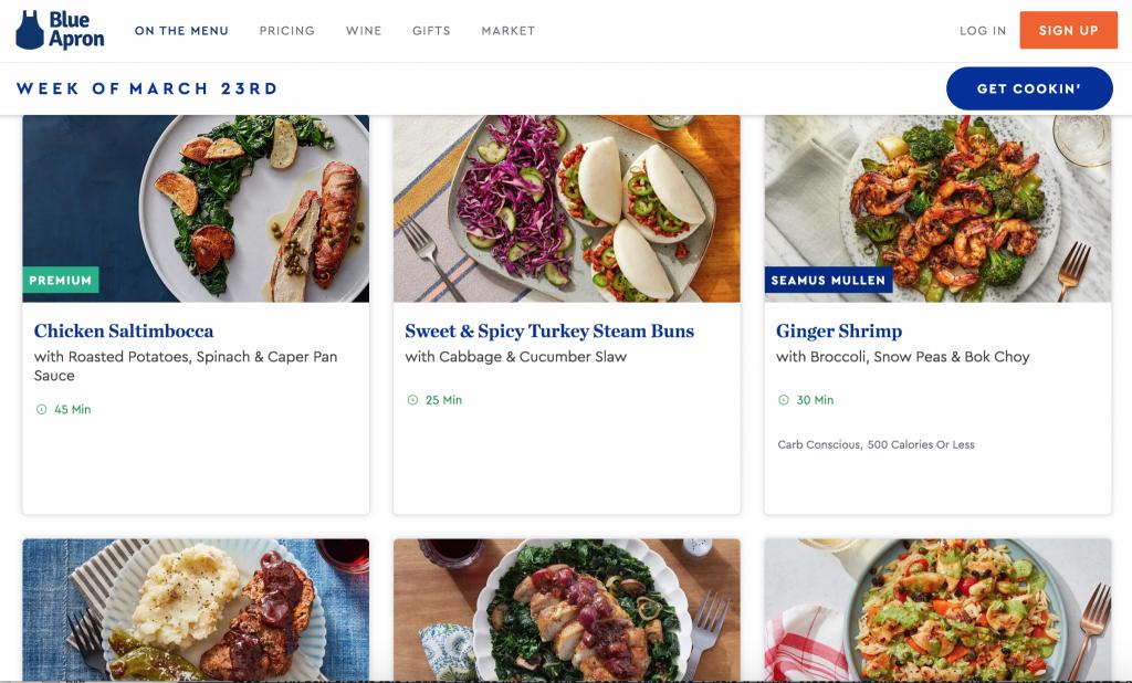 Blue Apron menu choices