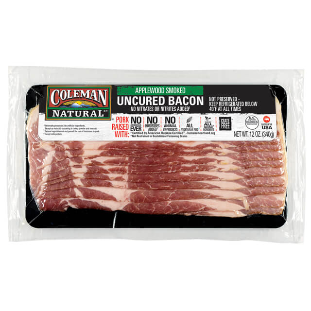 Coleman Natural Applewood Smoked Uncured Bacon package