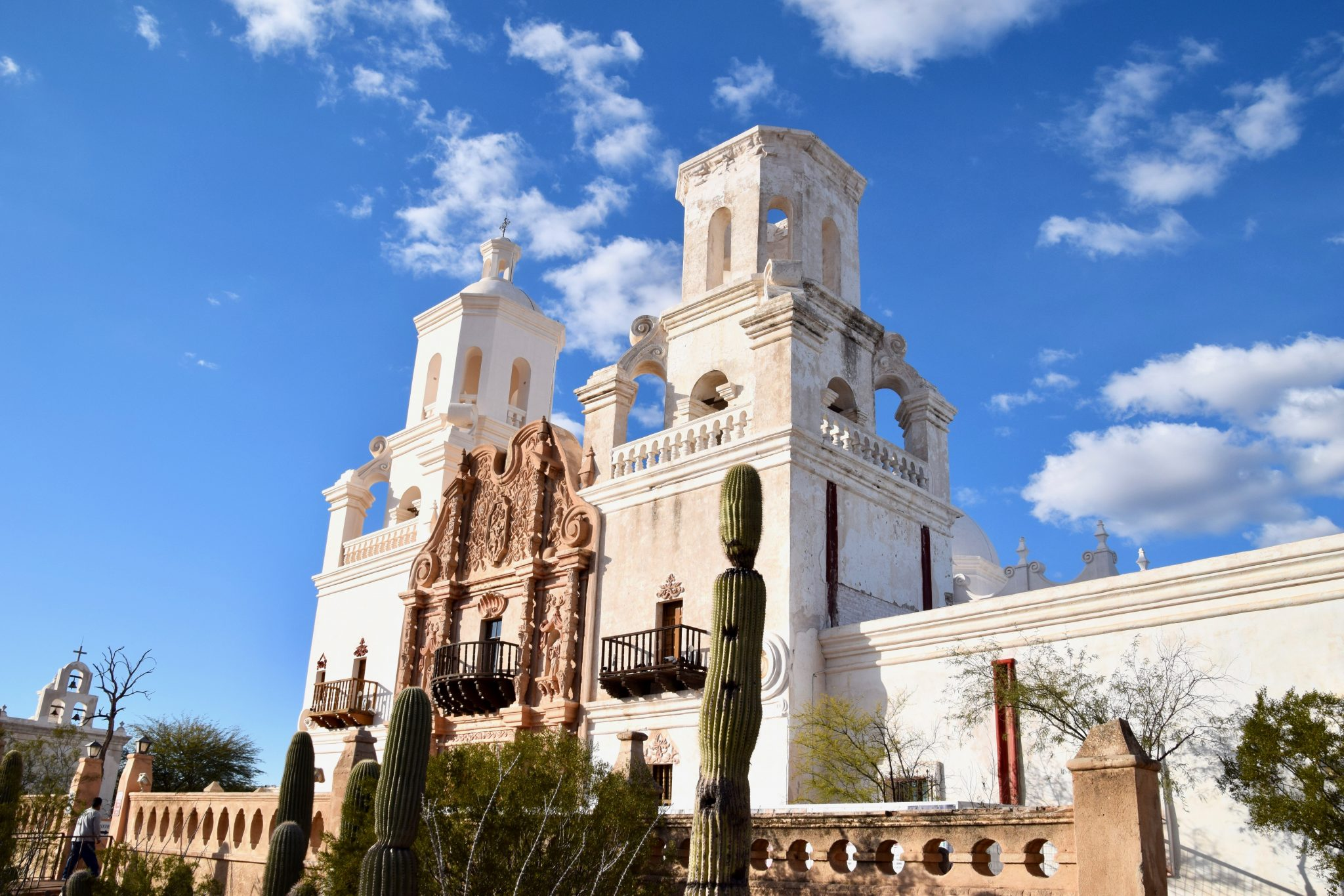 Front side angle of Mission San Xavier del Bac