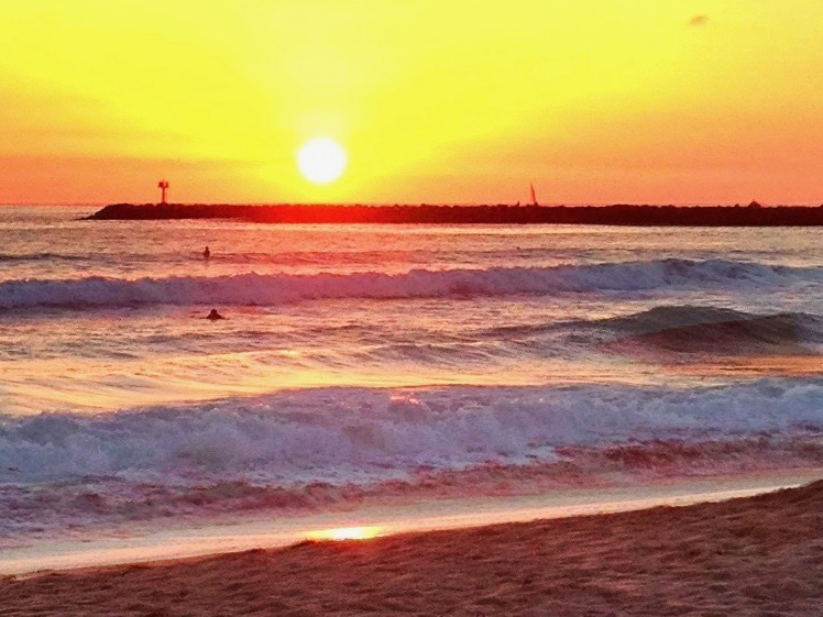 sunset at Ocean Beach in San Diego, CA