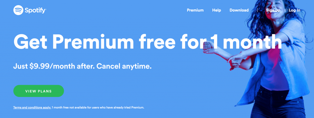 spotify screenshot with signup details