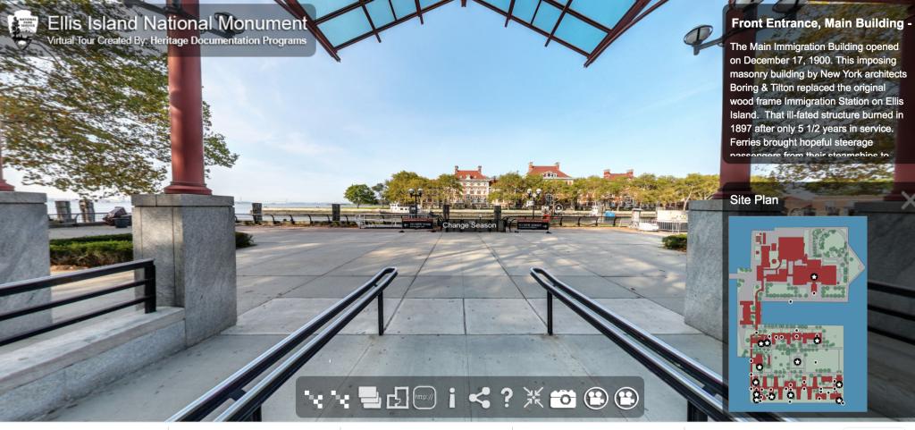 screenshot of Ellis Island virtual museum tour page
