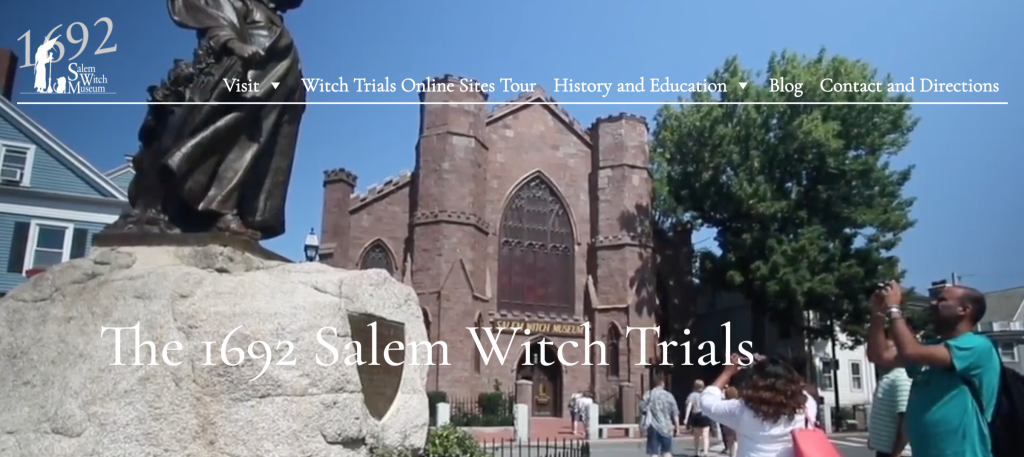 home page of the Salem Witch Museum