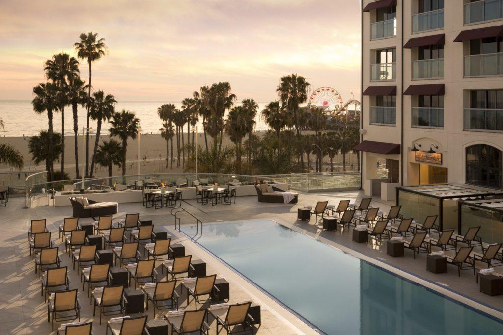 Poolside views of the Santa Monica Pier from the Loews Santa Monica Resort