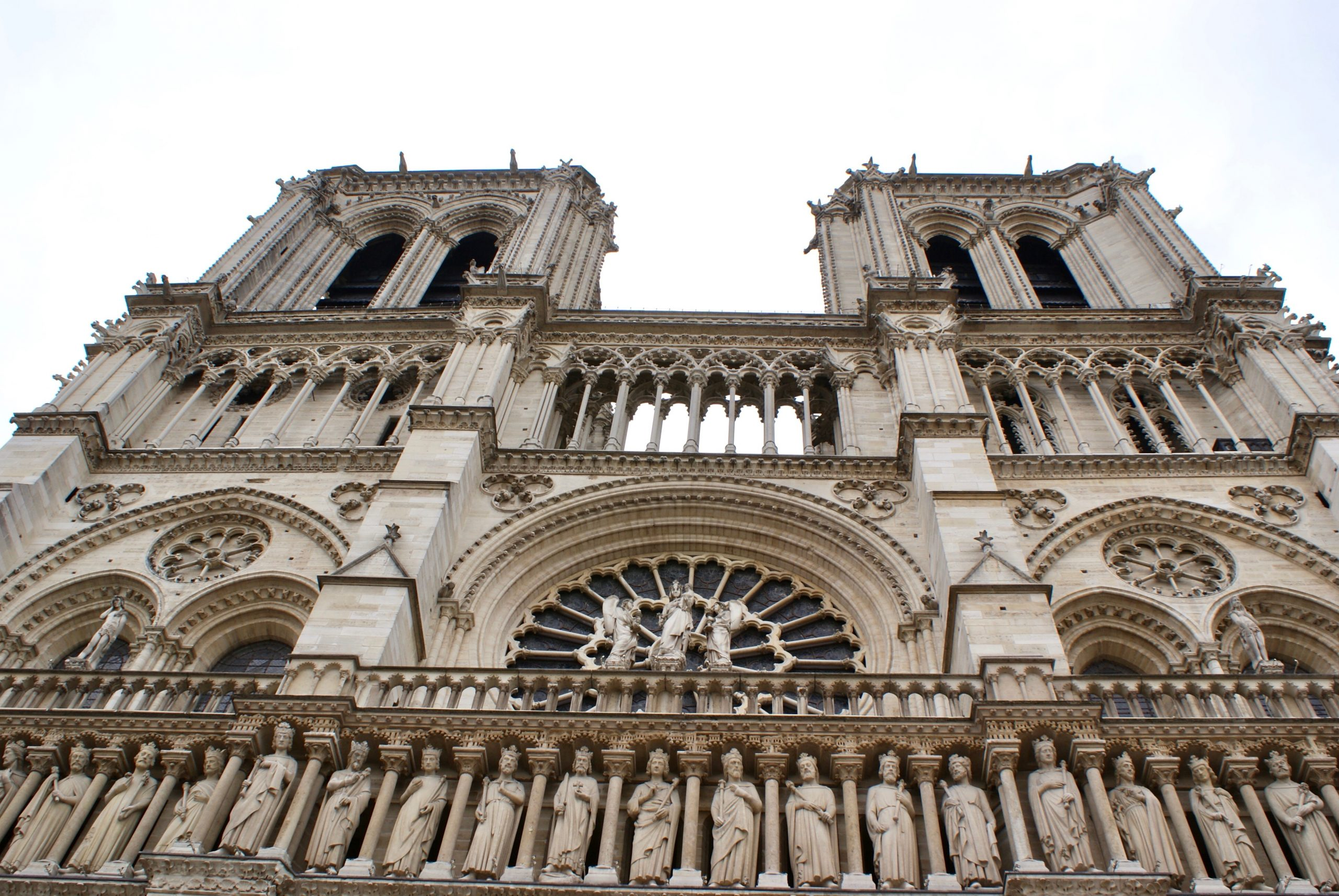front facade of Notre Dame Cathedral with twin spires and architectural detail