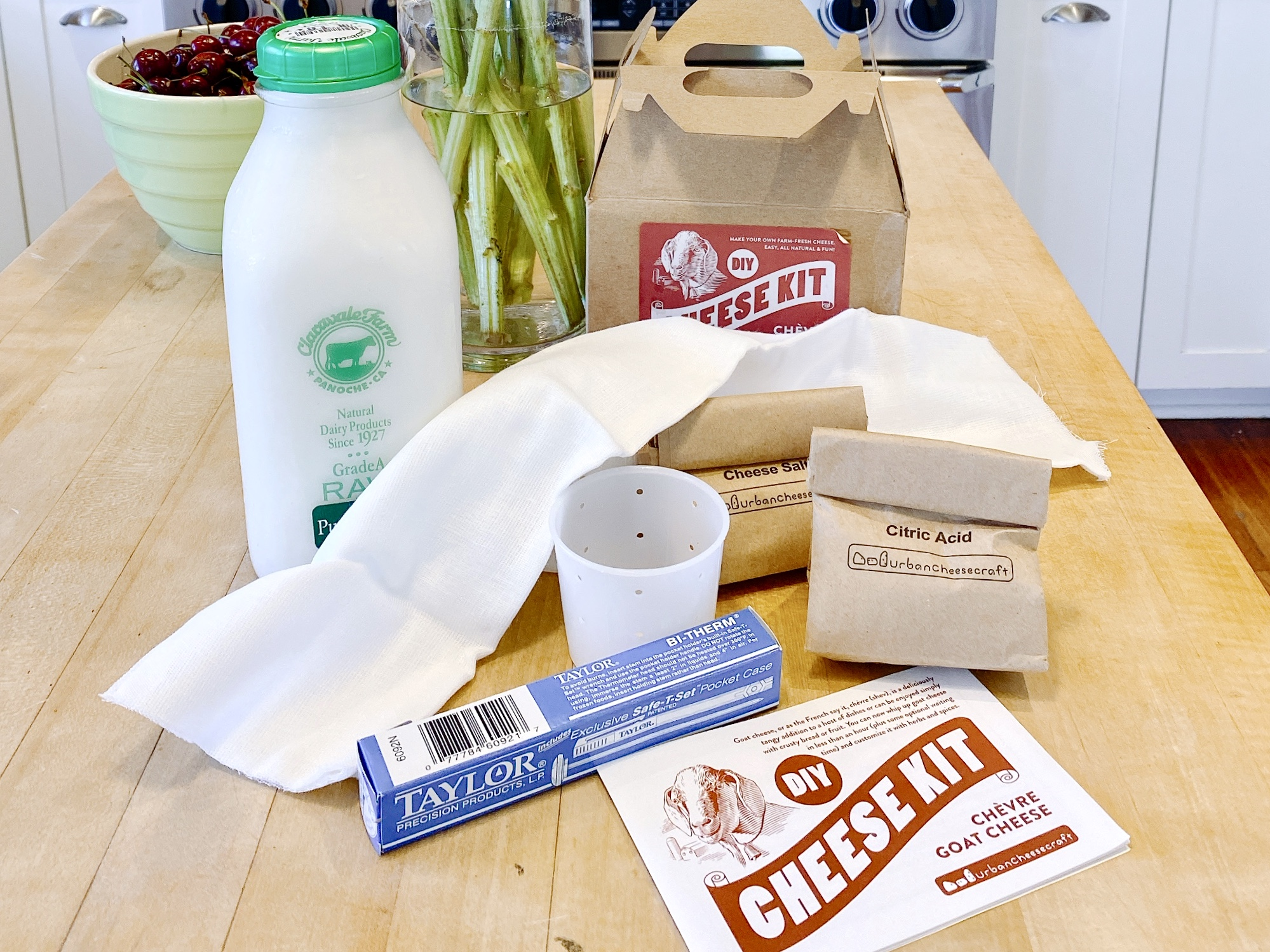 DIY Cheese Kit and goat milk, ready to make goat cheese