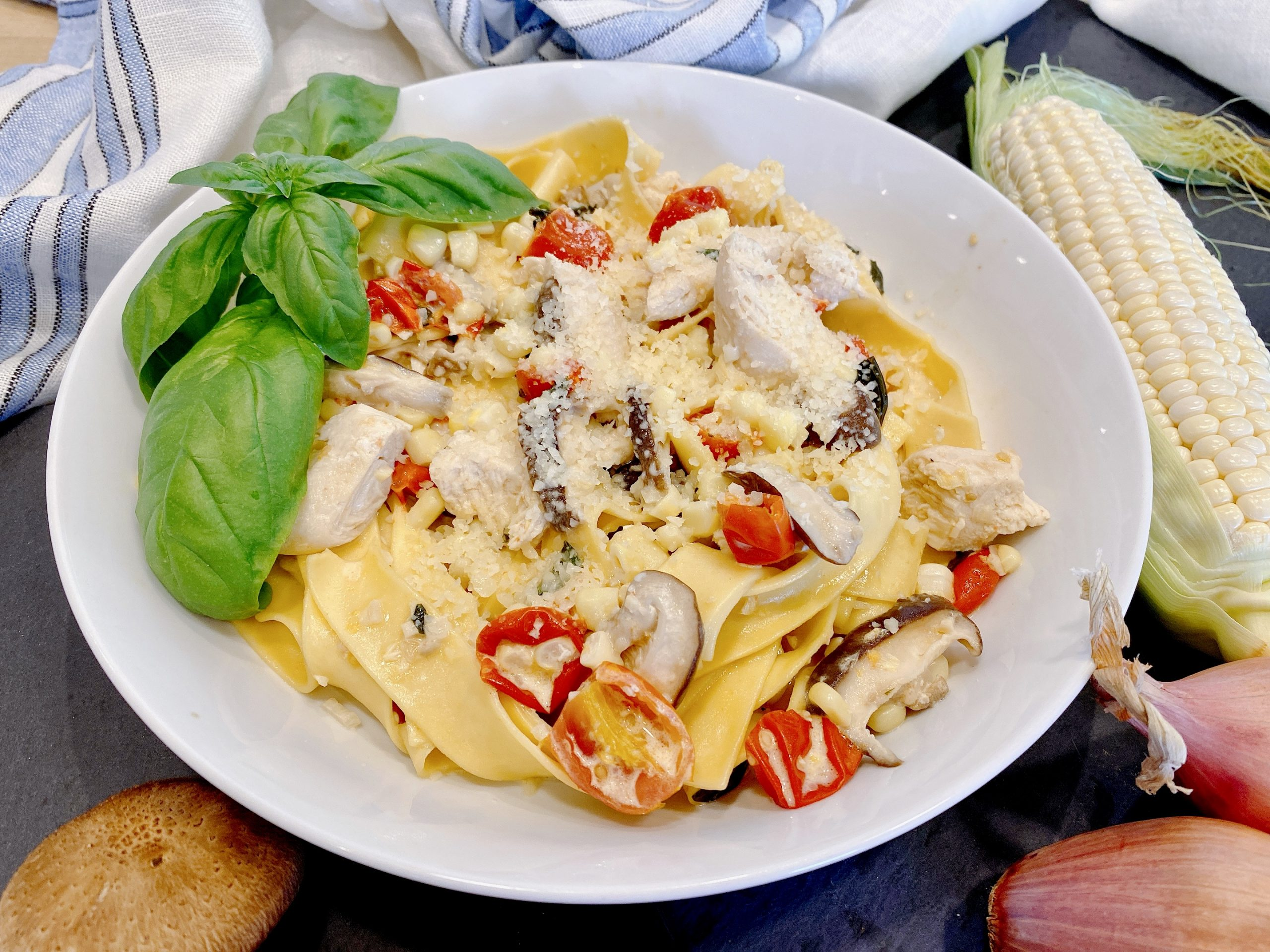 Fresh Summer Pasta with Corn and Tomatoes