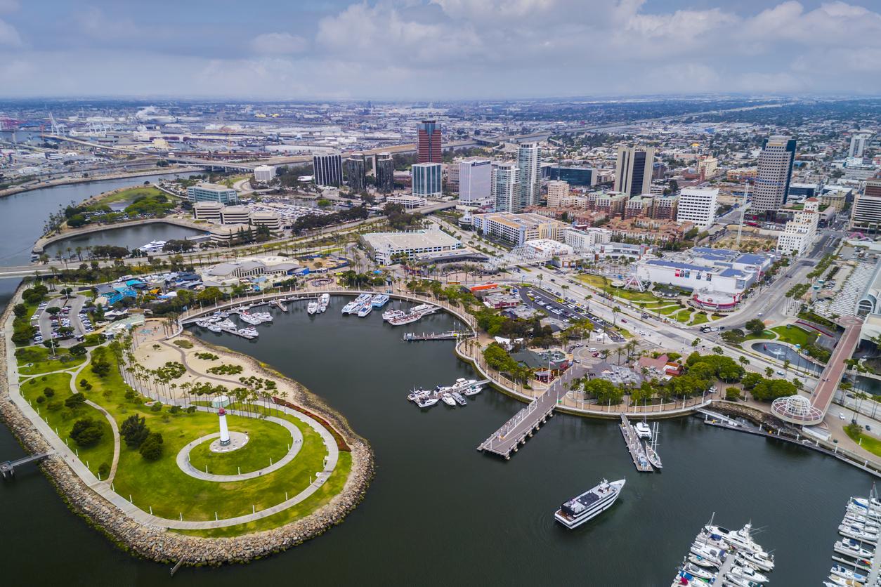Aerial photo of Pike area Long Beach California. Ocean and light house.