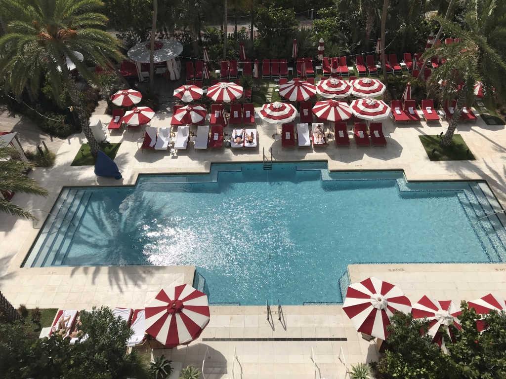 Overhead view of pool at the Faena Hotel in Miami Beach