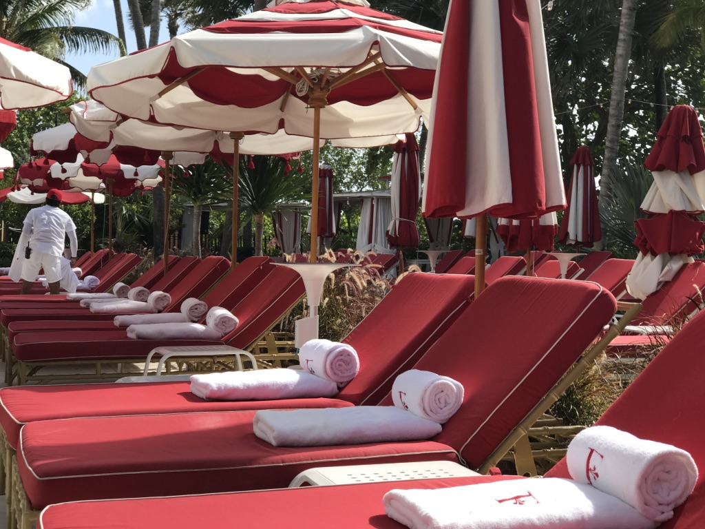 Pool chairs at Faena Hotel in Miami Beach, Florida