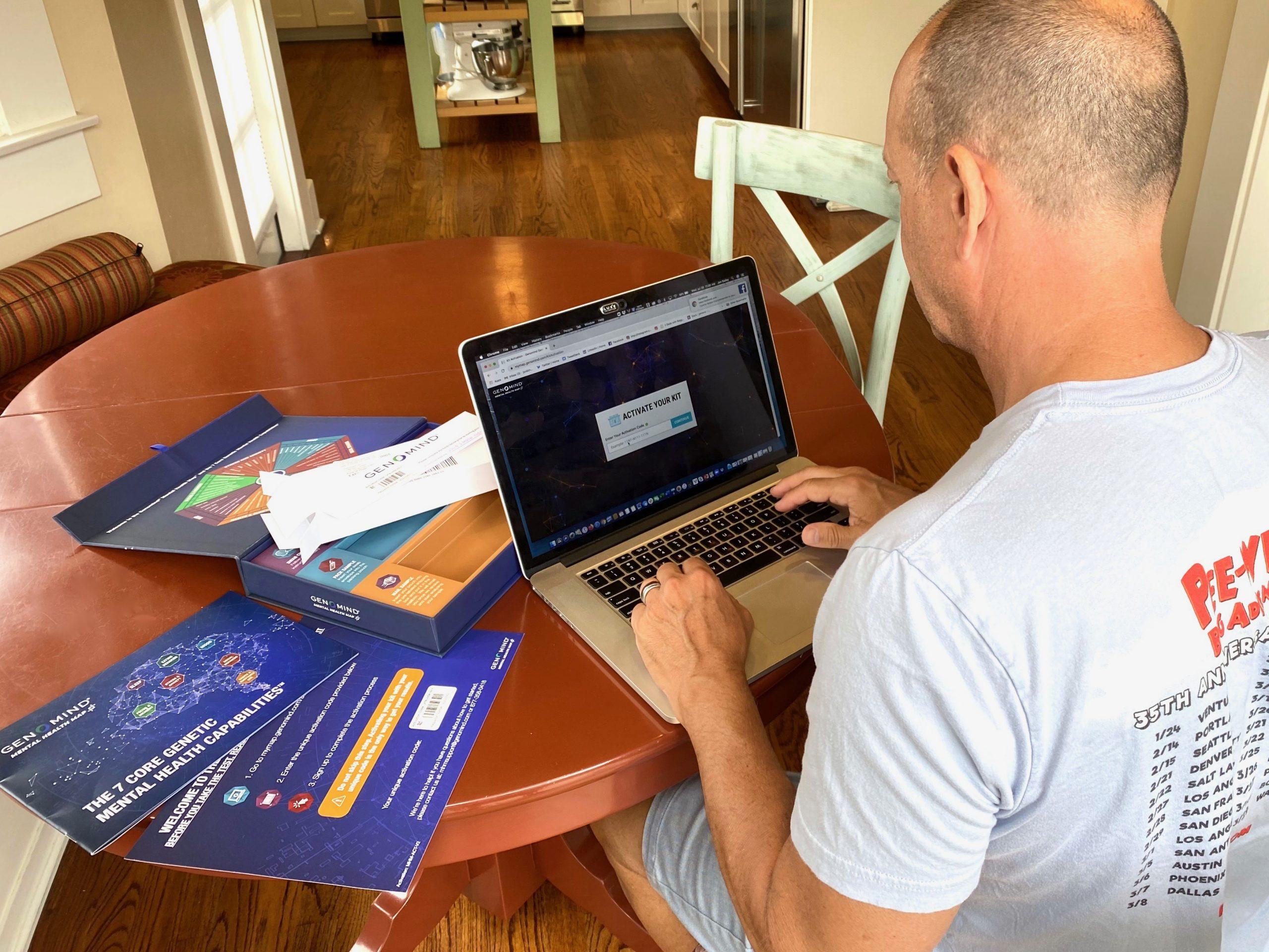 Man signing up for Genomind genetics test