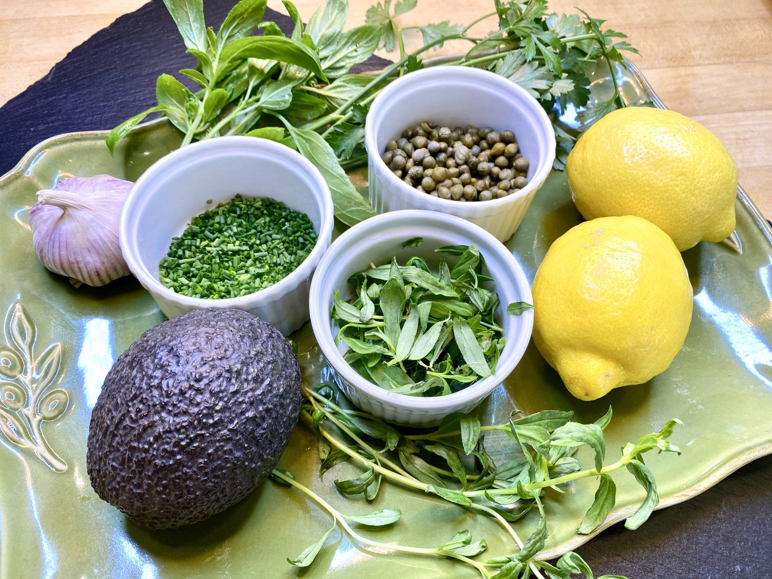 fresh ingredients to make Green Goddess Dressing recipe