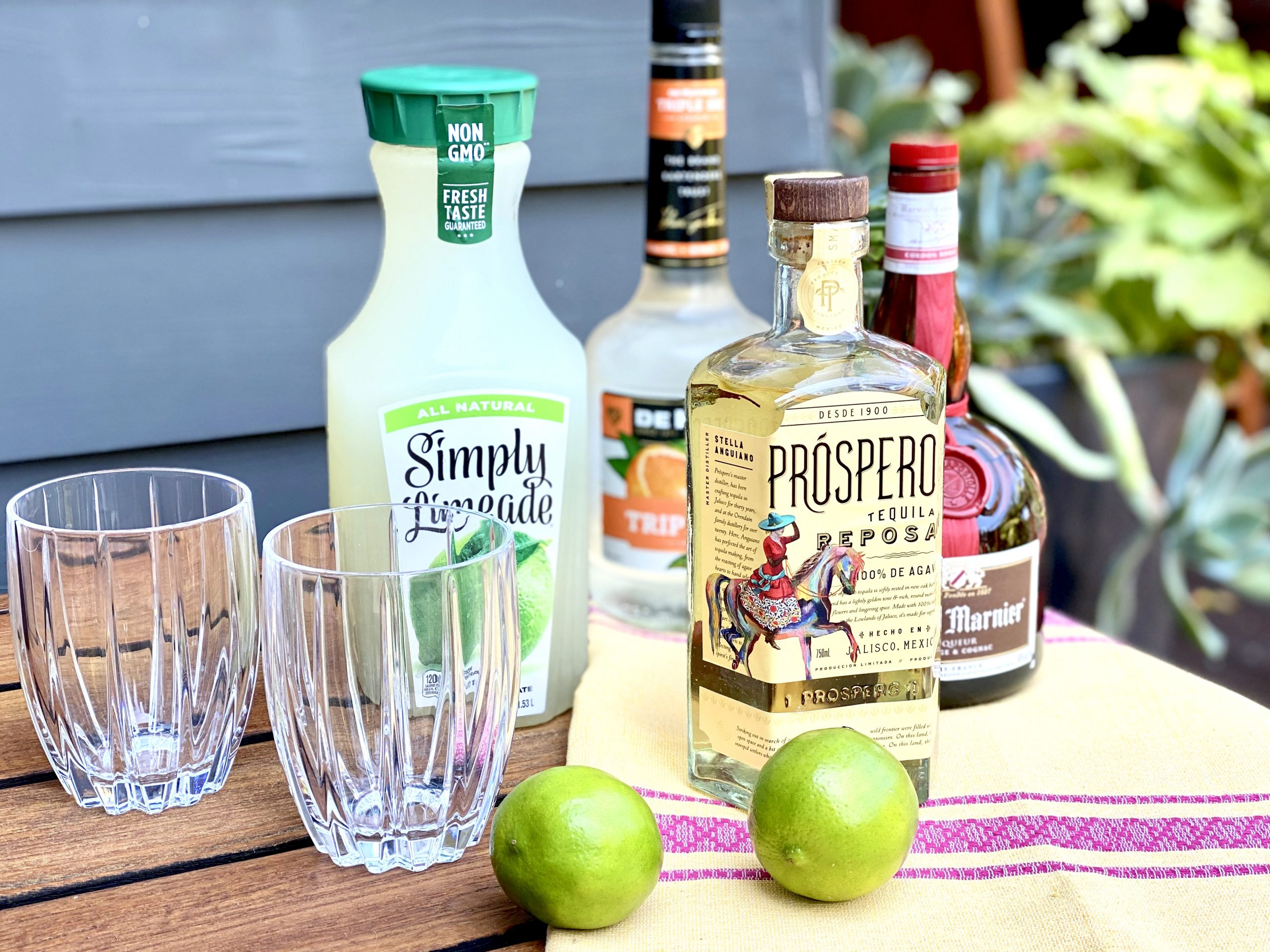 Prospero Tequila is the primary ingredient in a Margarita recipe including triple sec, Grand Marnier, Simply Limeade and fresh lime juice.