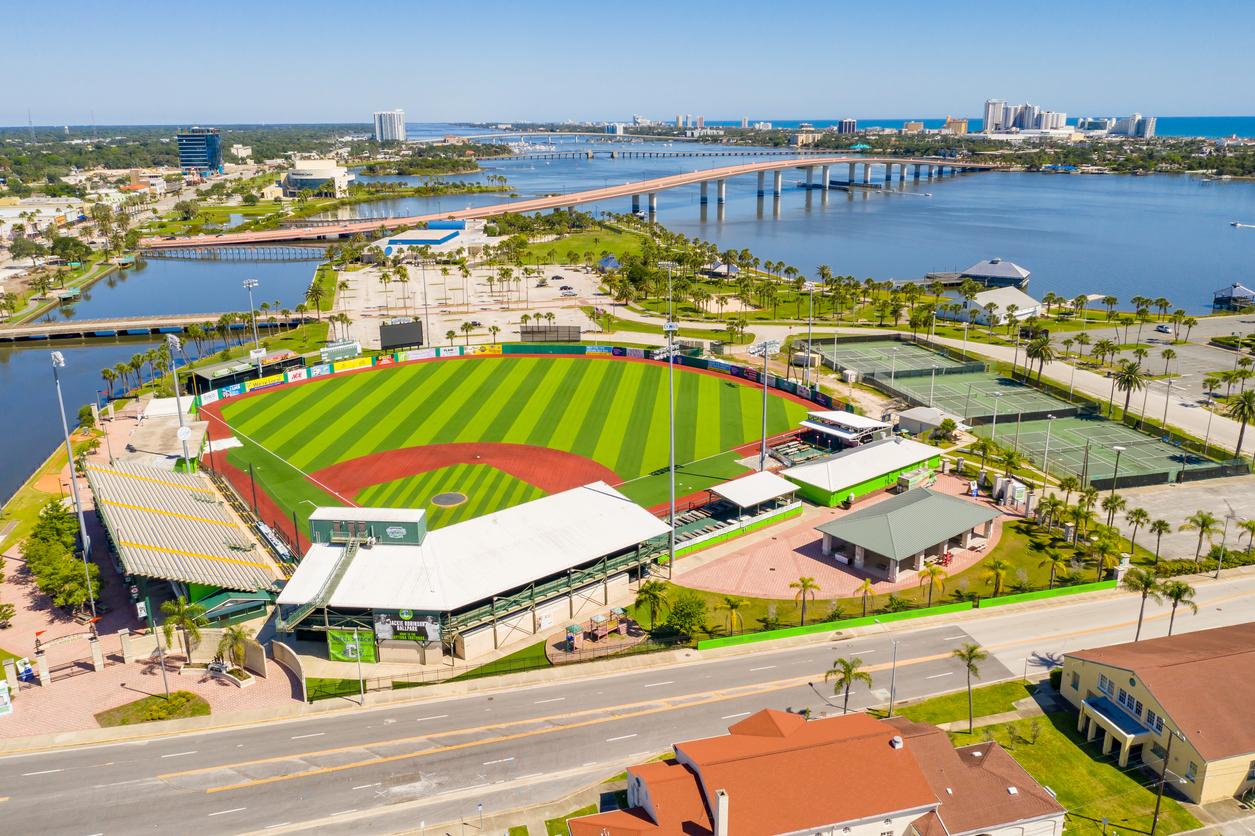 Daytona Beach, FL, USA - May 3, 2020: Aerial drone photo Jackie Robinson Memorial Baseball Park Jacksonville Beach FL