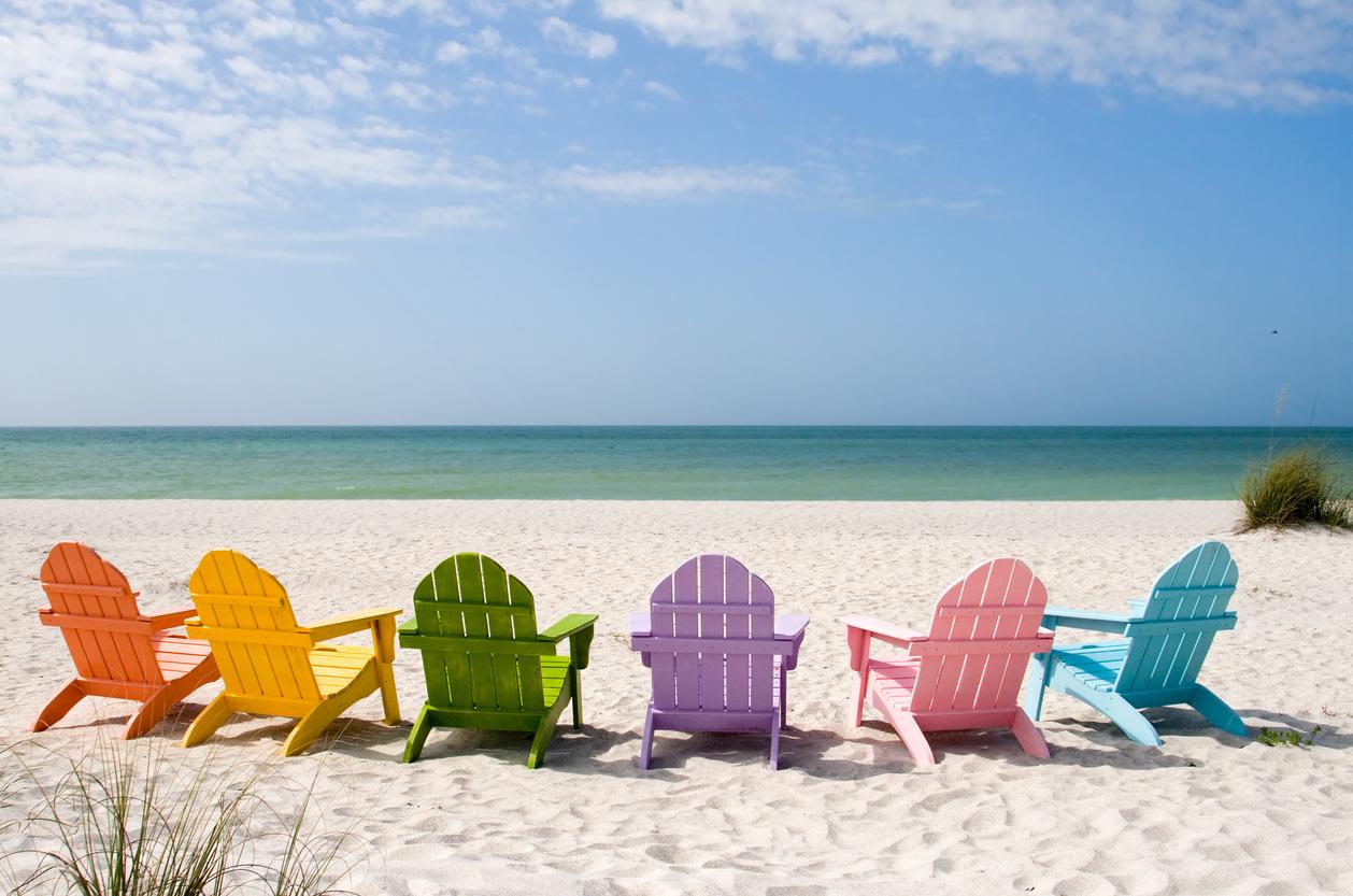 beach chairs on Sanibel Island, Florida