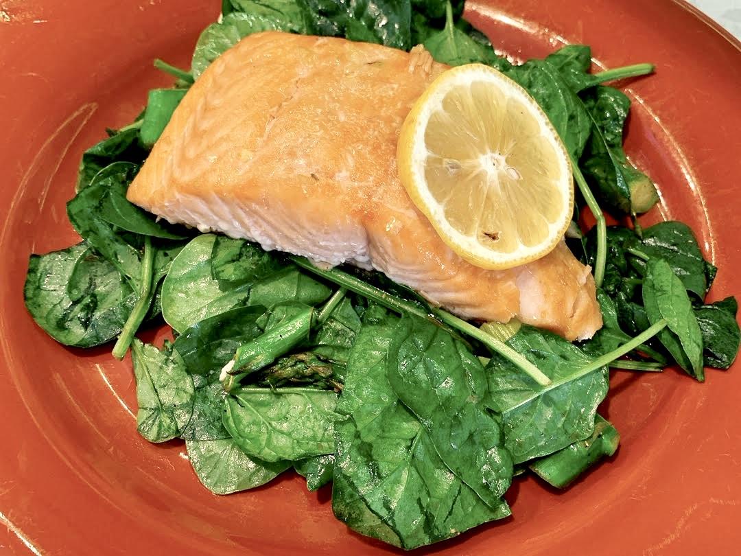 Salmon with lemon slice