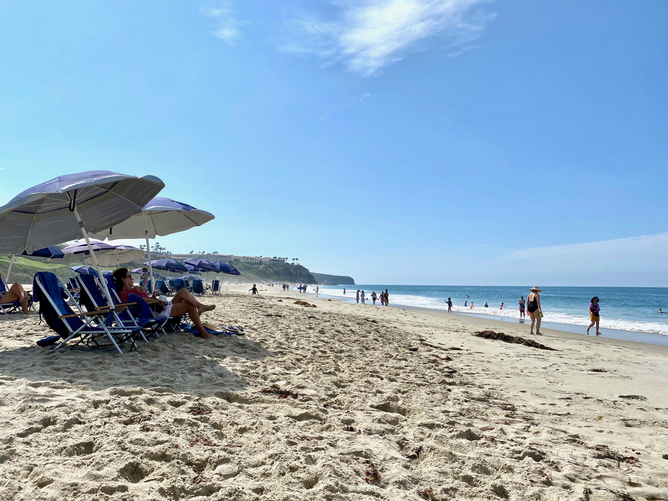 Looking south on beach at Monarch Beach Club at Monarch Beach Resort in Dana Point, CA