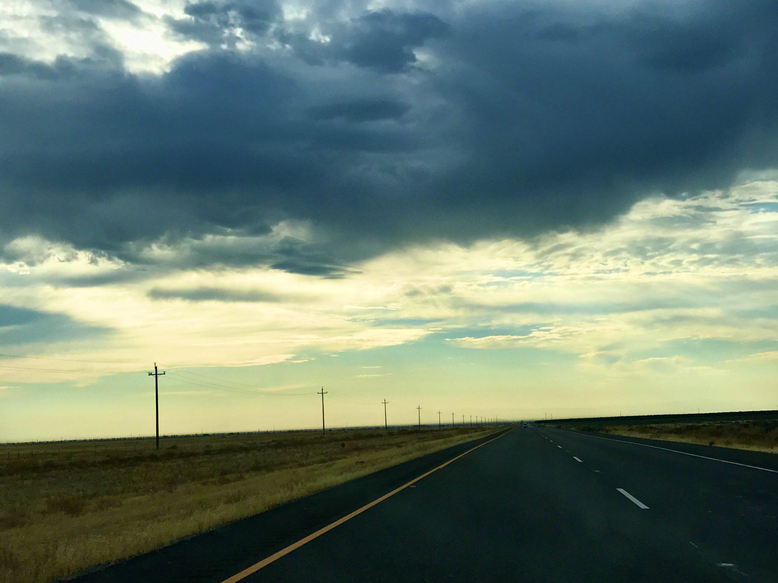 Empty road at sunrise near Paso Robles, CA