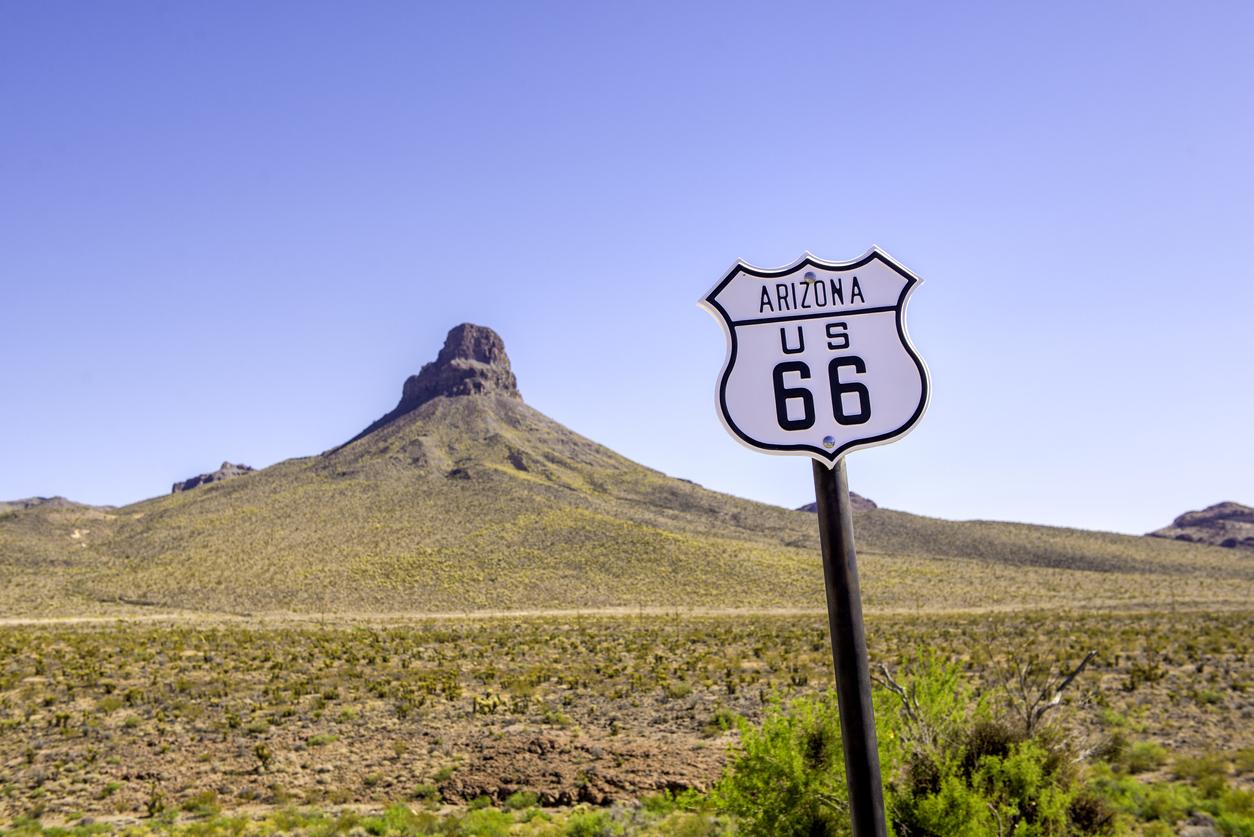 Route 66 sign on Oatman Road in rural Arizona