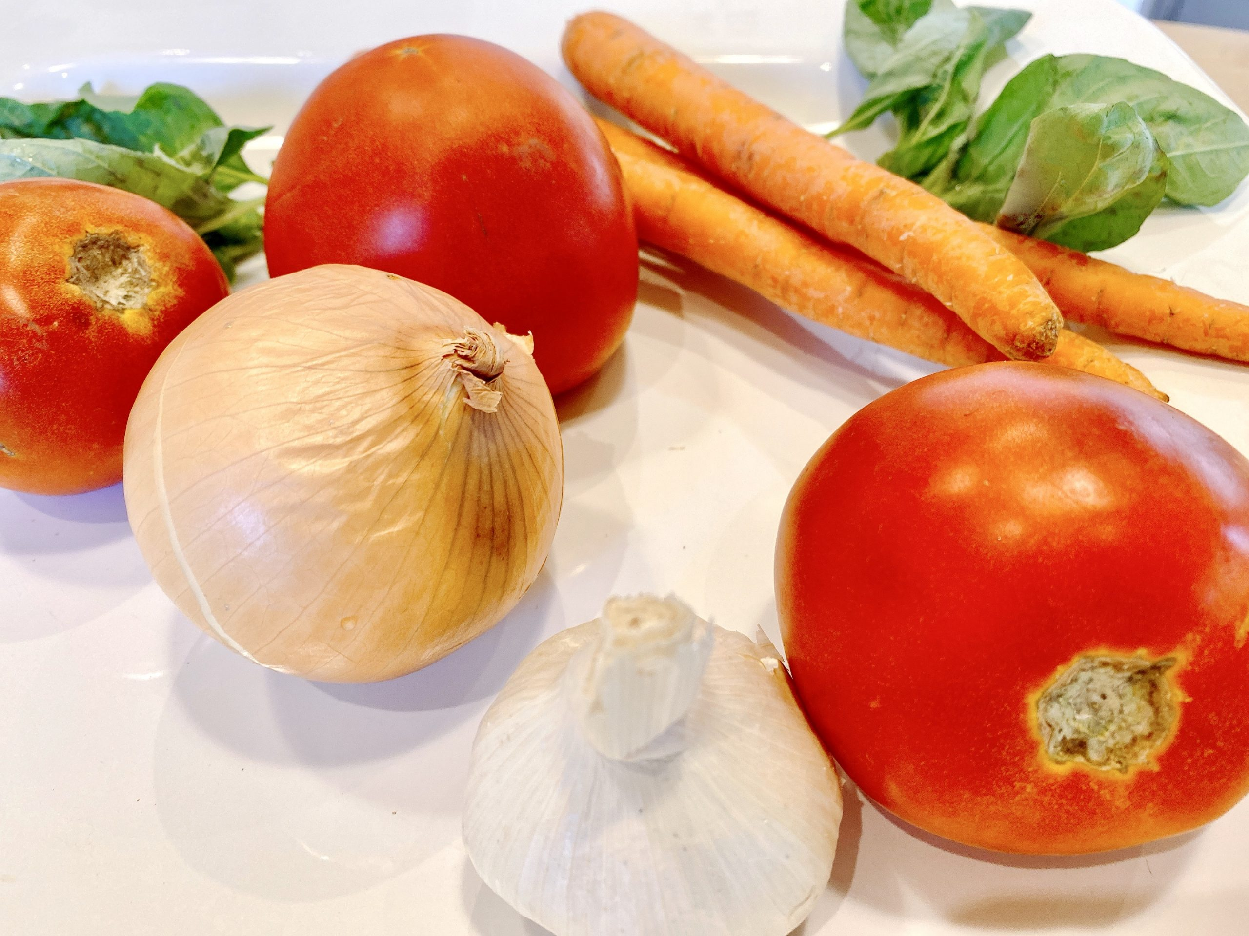 fresh ingredients for tomato soup recipe