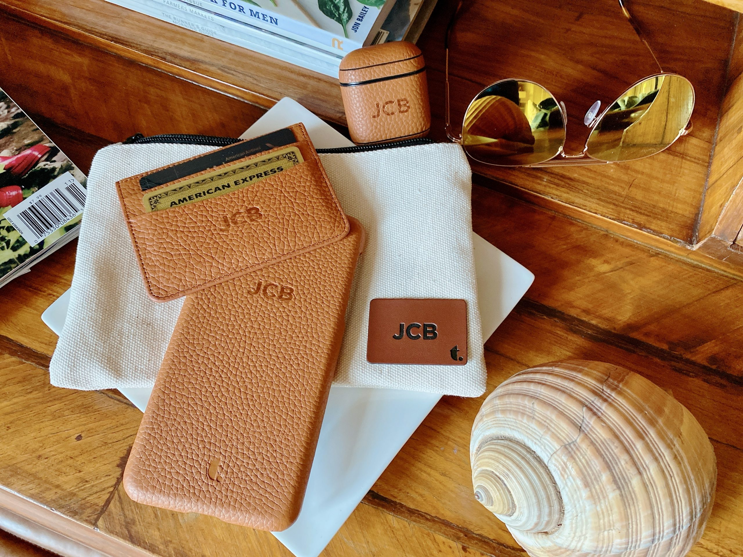 Monogrammed leather phone case, airpods case and slim wallet from Tanon Goods