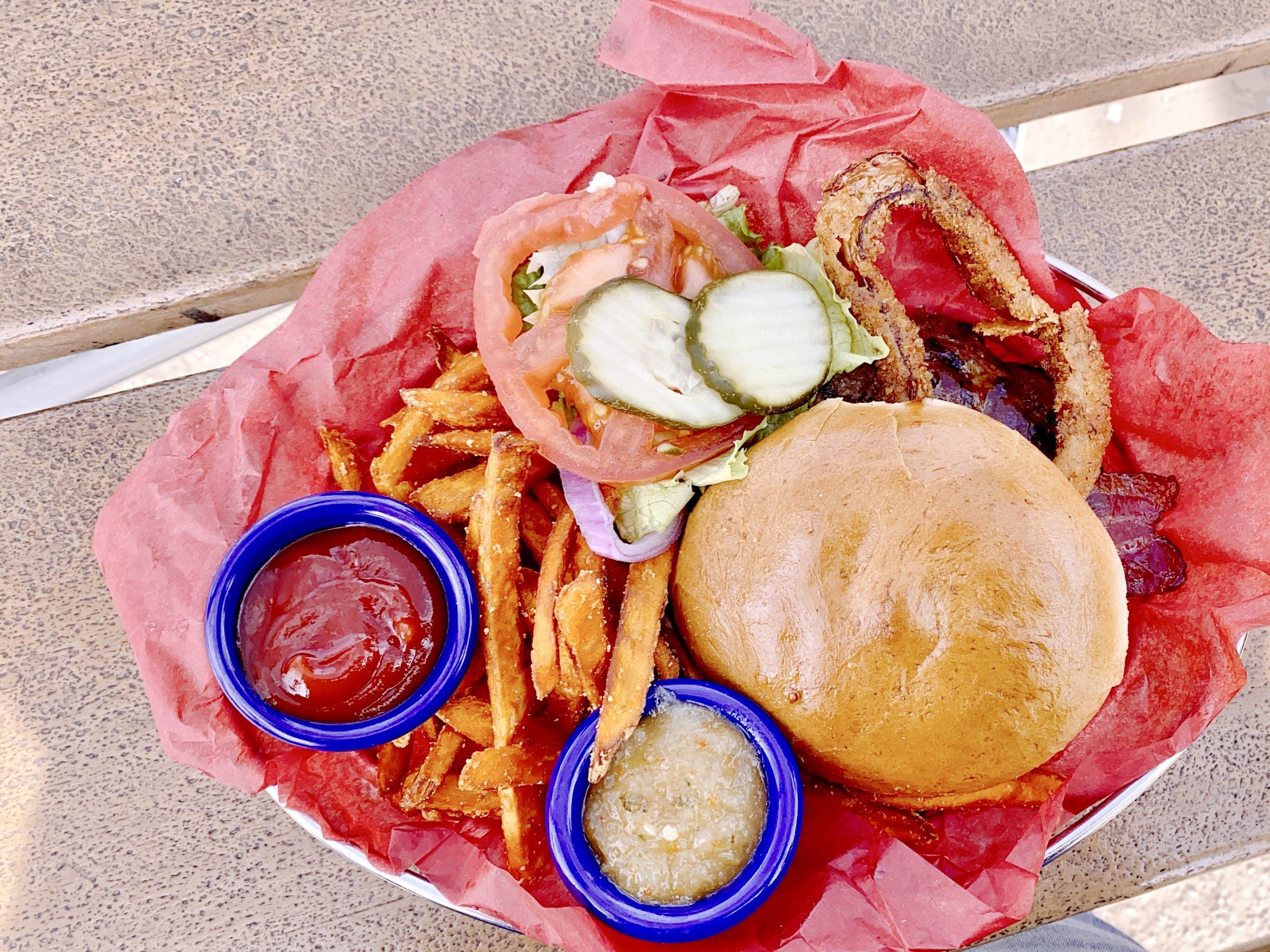 Burger and fries served at Joe's Farm House in Gilbert, Arizona