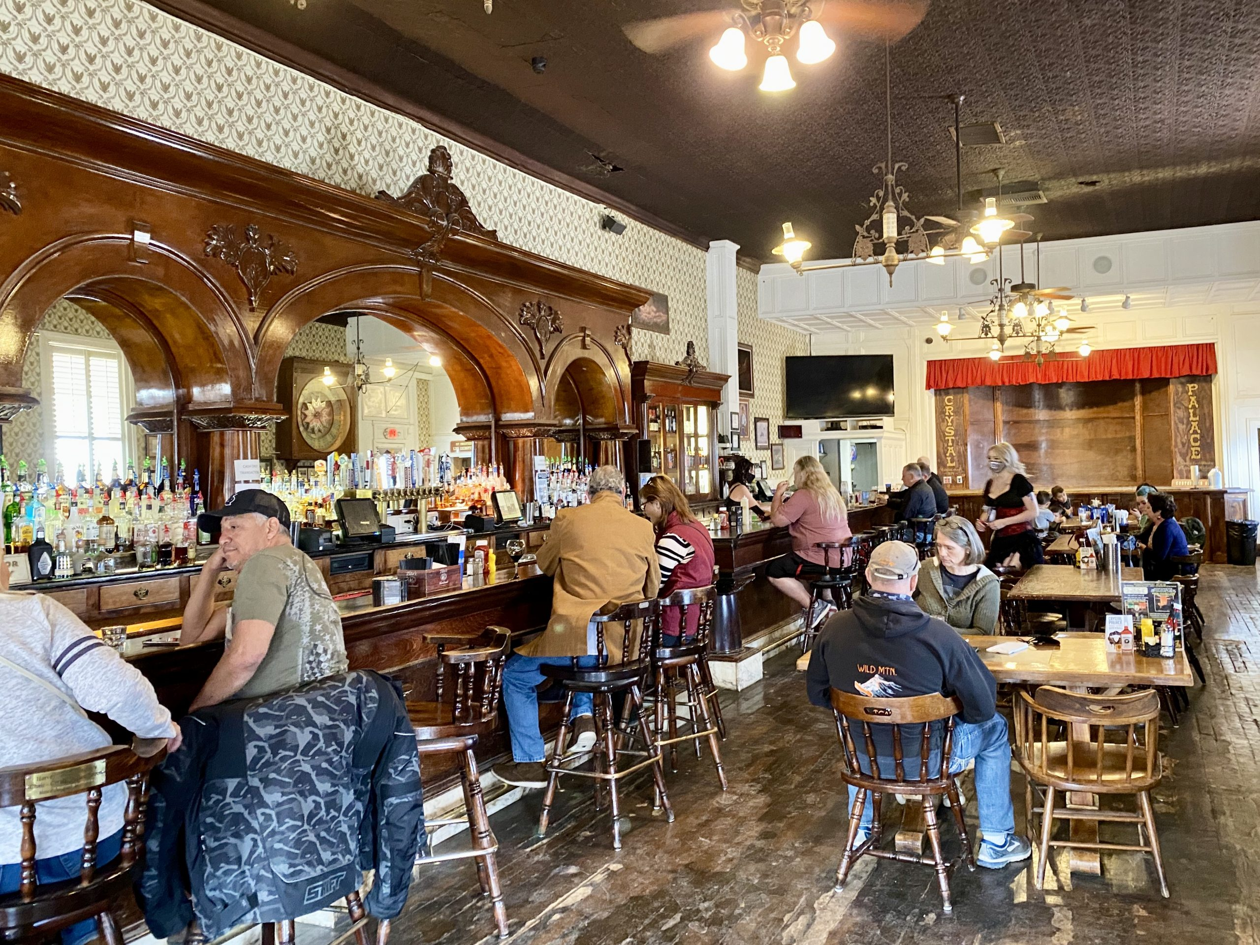 The Crystal Palace Saloon in Tombstone, Arizona has historic bar and stage
