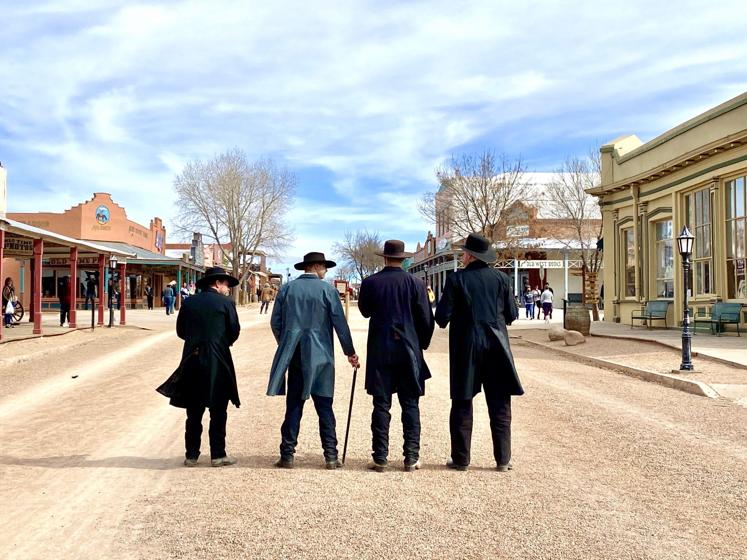 Gunslingers line up outside the OK Corral in Tombstone, Arizona
