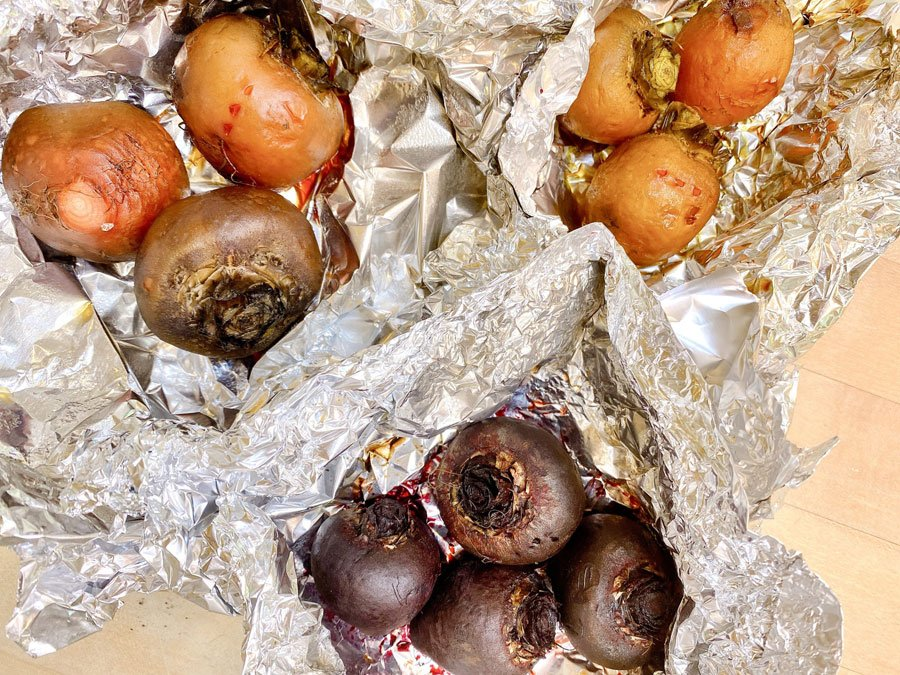 roasted beets in foil pouches