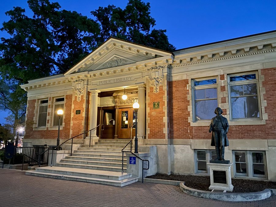 Historic Public Library building in Downtown City Park, Paso Robles, CA