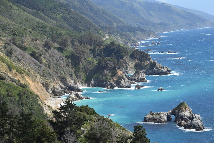 Highway 1 in Big Sur looking south along the coastline of Central California in Monterey County