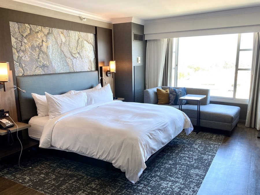 Suite bedroom at the Monterey Marriott Hotel