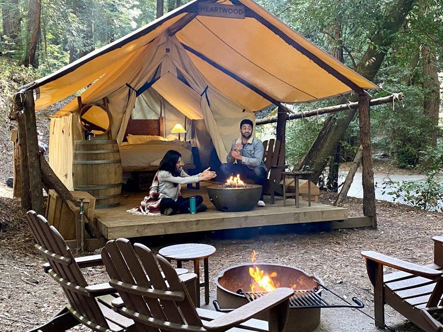 Glamping tent at Ventana Big Sur, CA