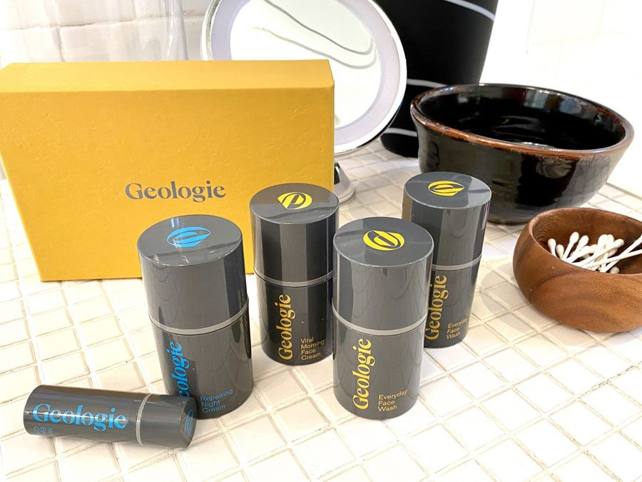 Geologie facial products for men displayed on a bathroom counter