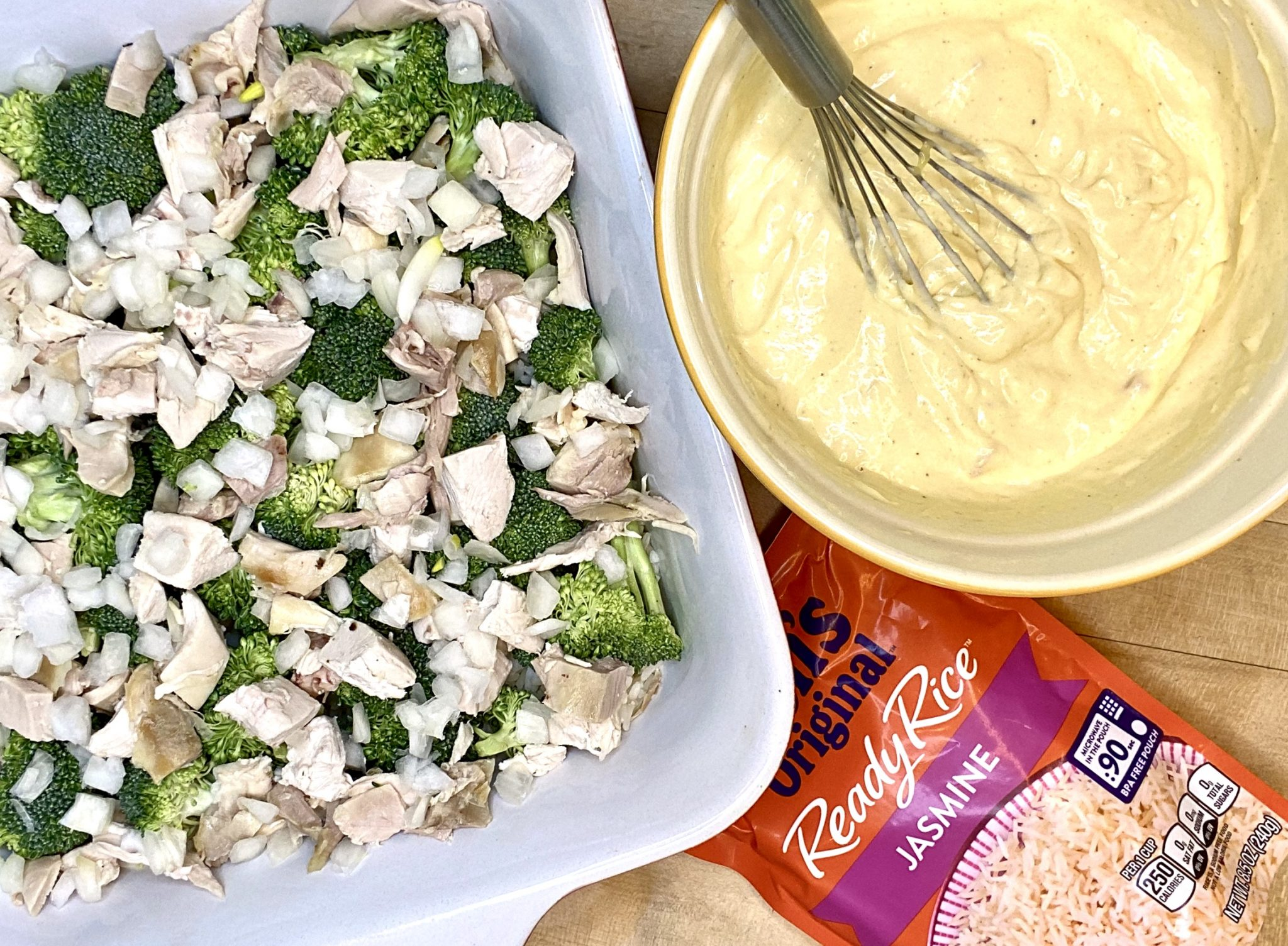Healthy Chicken & Rice Bake with Broccoli Recipe ingredients being prepared