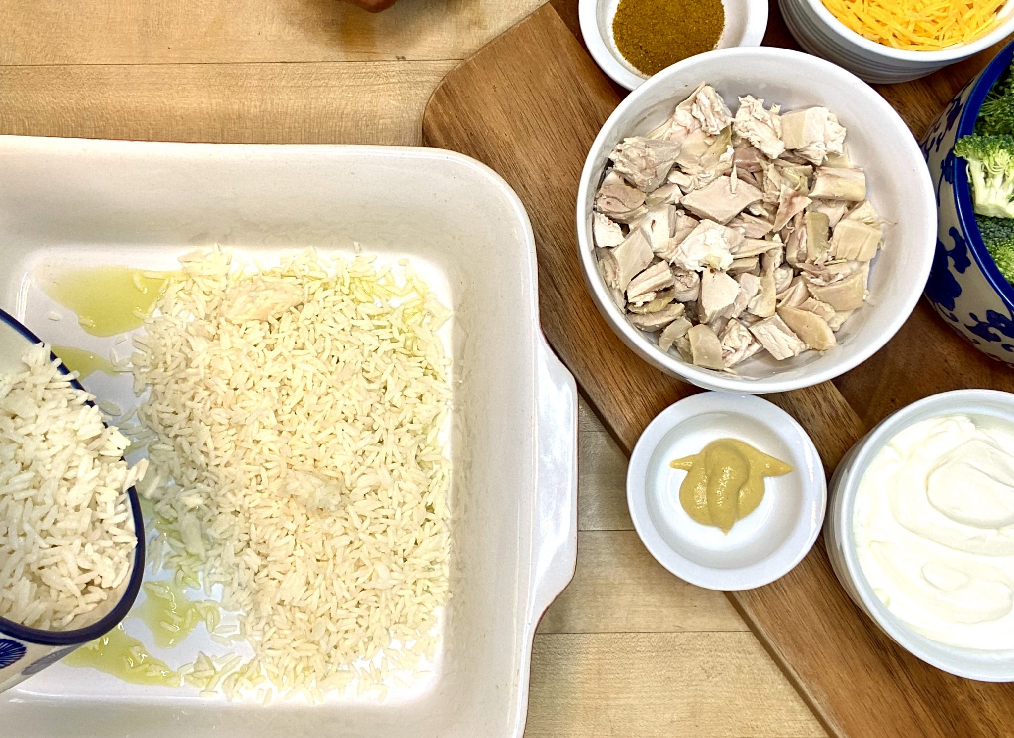 in the midst of preparing Healthy Chicken & Rice Bake with Broccoli Recipe
