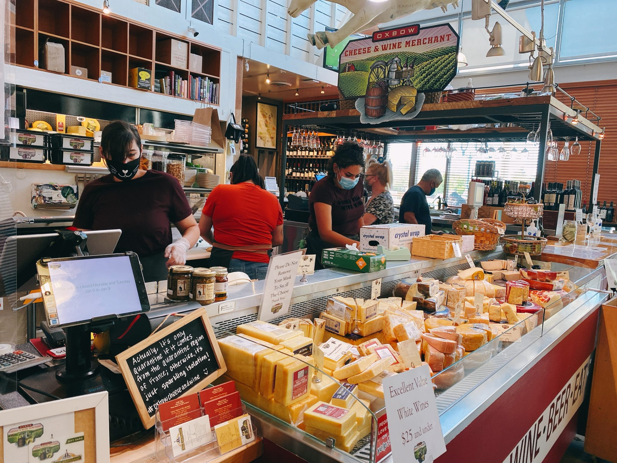 cheese merchant at Oxbow Market in Downtown Napa, CA