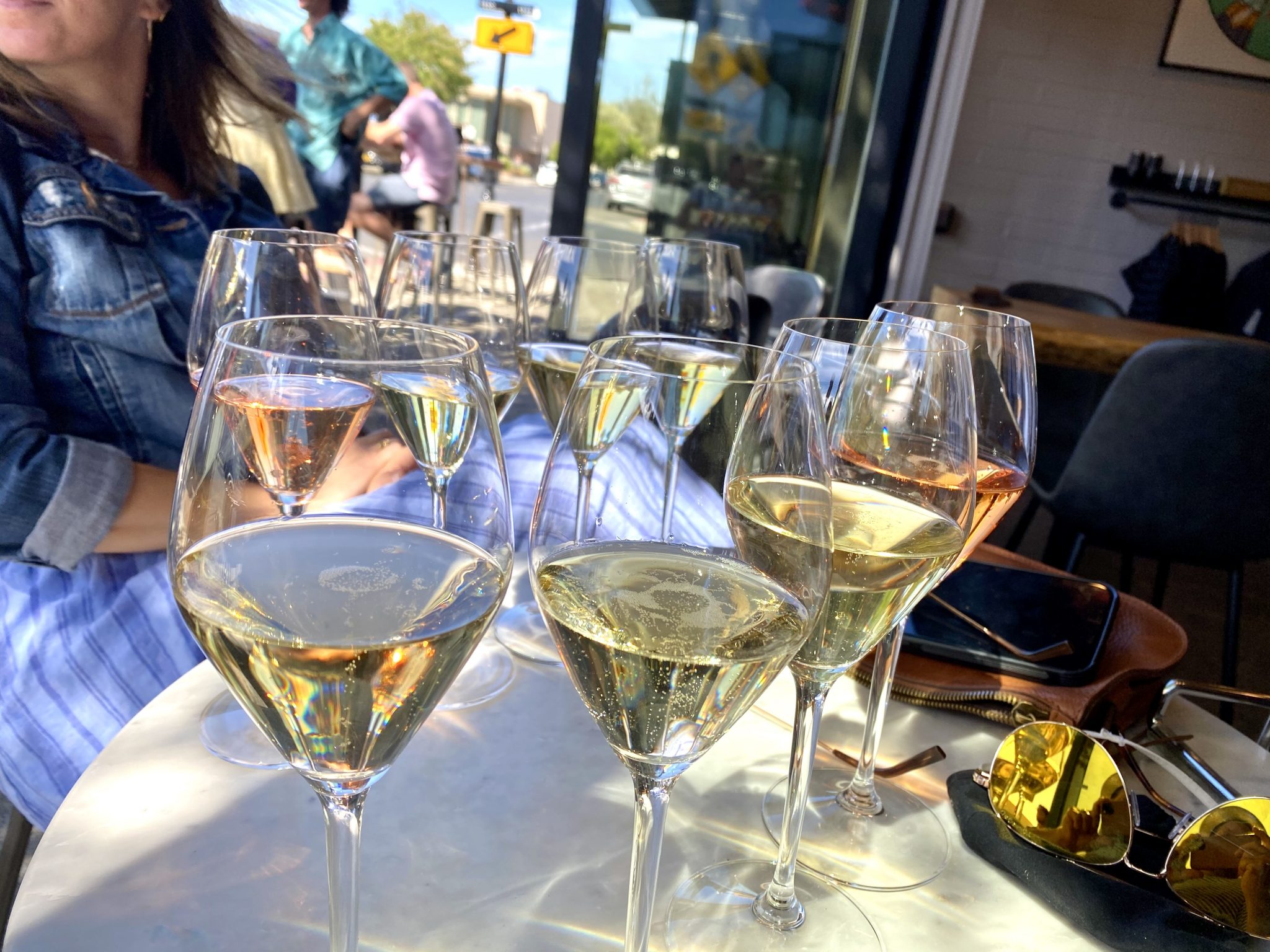 Champagne in glasses as part of sparkling wine flight at Be Bubbly tasting room in Downtown Napa