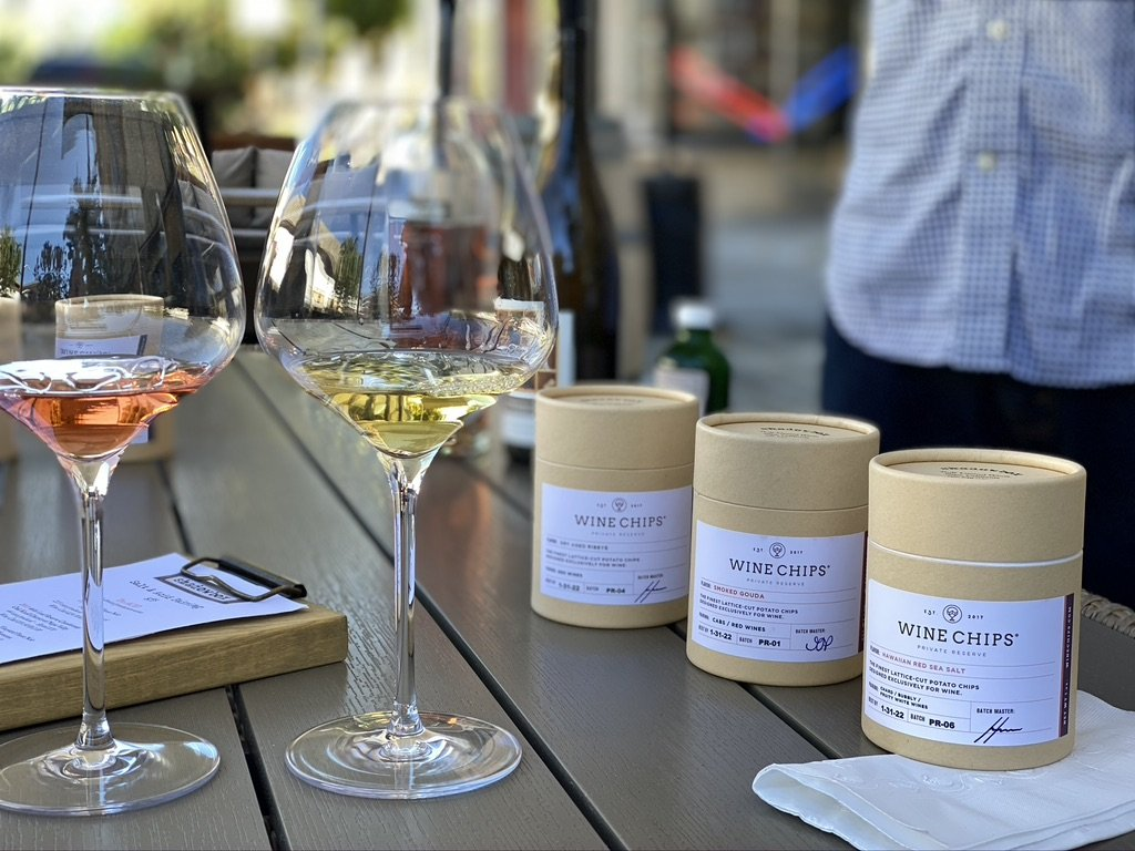 Shadowbox Cellars in Downtown Napa offers a tasting that pairs their wines with flavored potato chips