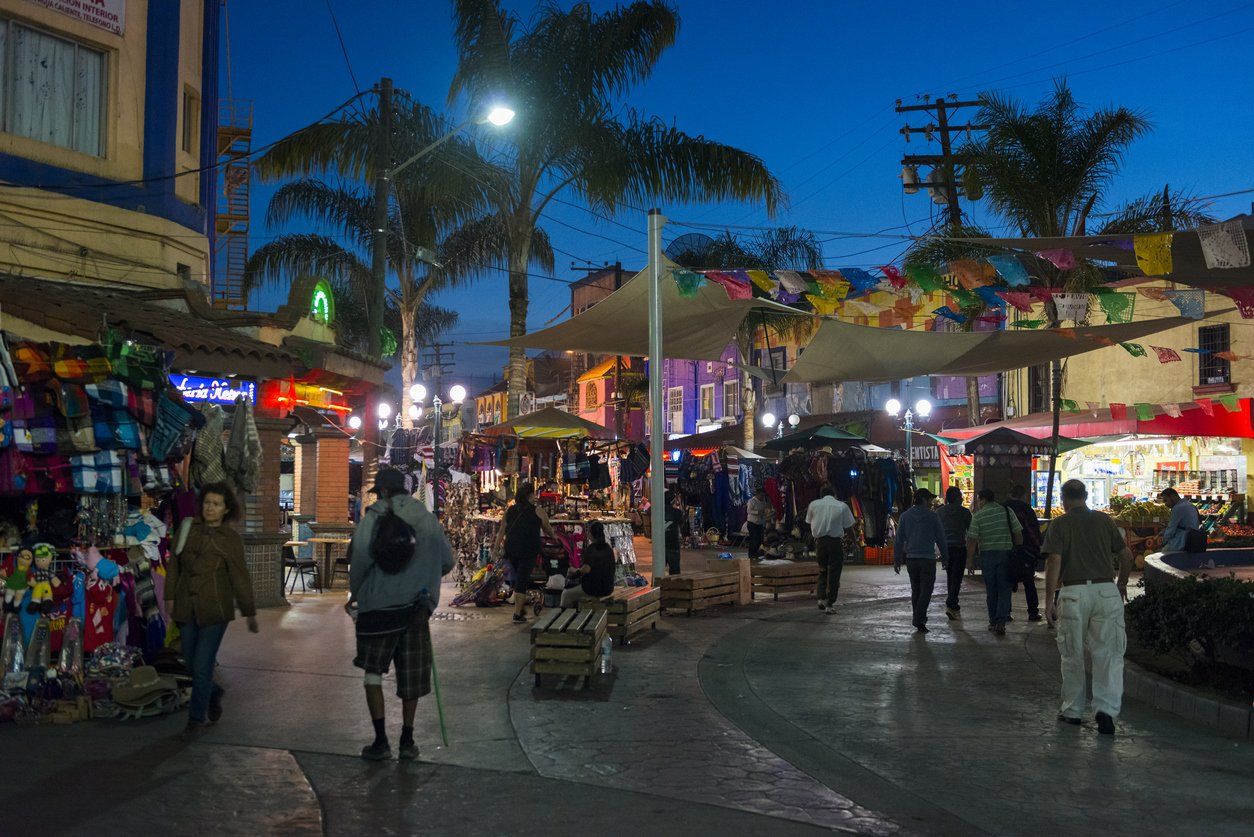 Evening scene at the popular shopping and tourist area at Santiago Arguello in Tijuana, Mexico.
