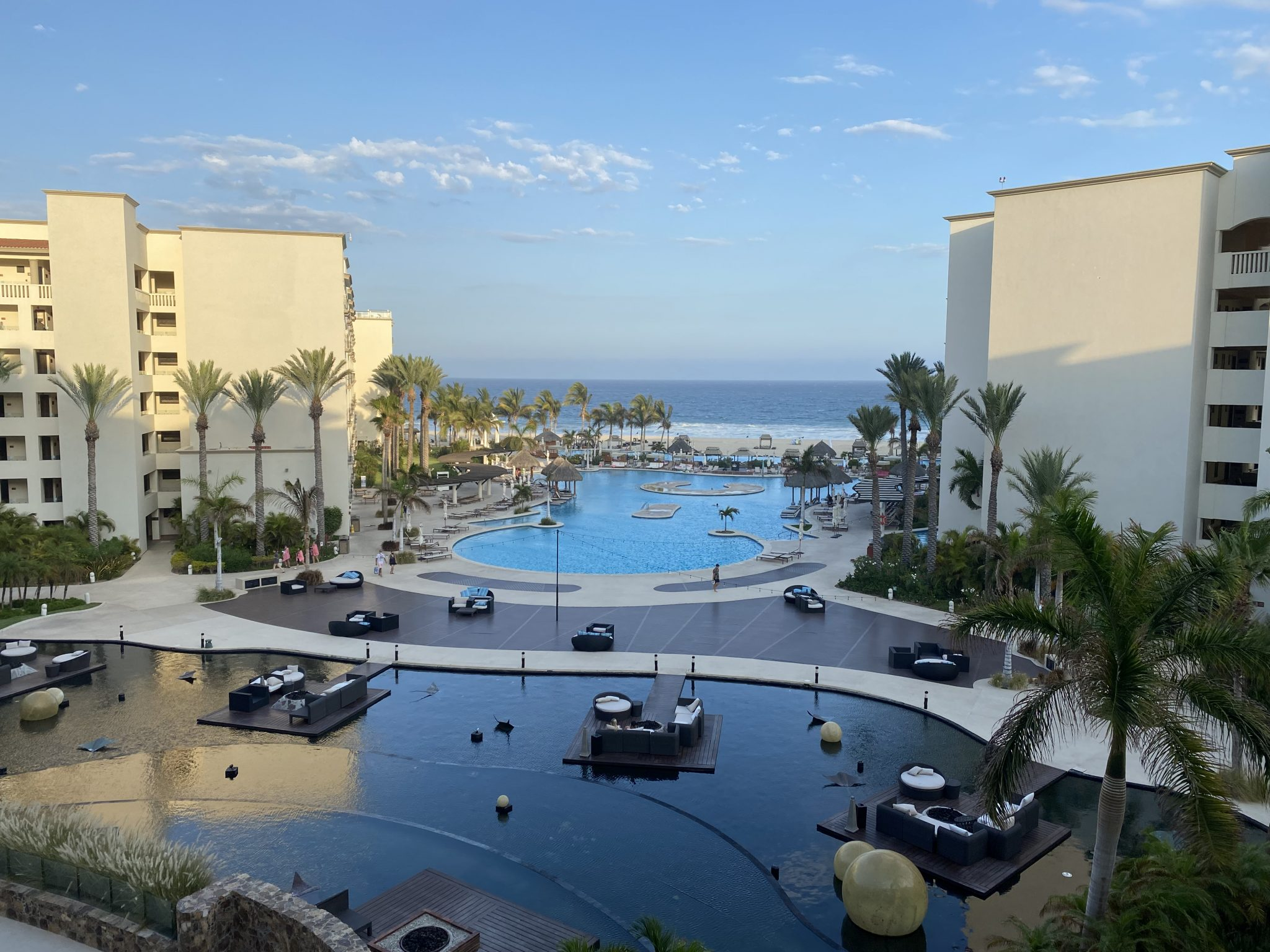 View from the lobby of the Hyatt Riva Resort looking out over the Sea of Cortez.